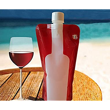 Premium Foldable Wine Bottle Portable, Reusable, Refillable, Leak Proof, Flexible Travel Wine Bottle 750ml Shatterproof Comes with Life Time Guarantee