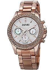 August Steiner Womens AS8100RG Swiss Quartz Multifunction Diamond & Crystal Rose-tone Bracelet Watch