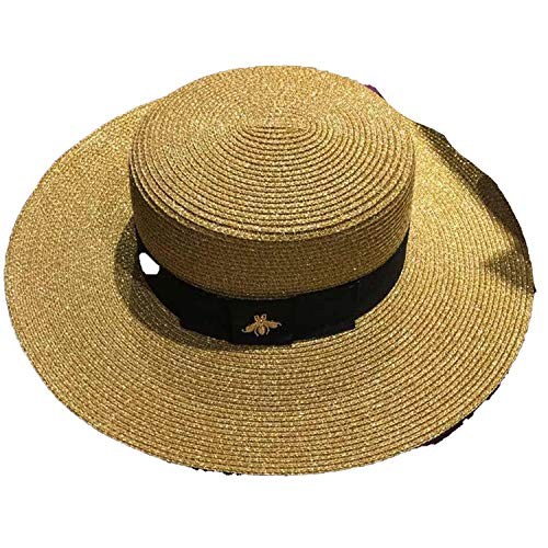 Women's Hats Apparel Accessories Reasonable Sun Hats Small Bee Straw Hat European And American Retro Gold Braided Hat Female Loose Sunscreen Sunshade Flat Cap Visors Hats