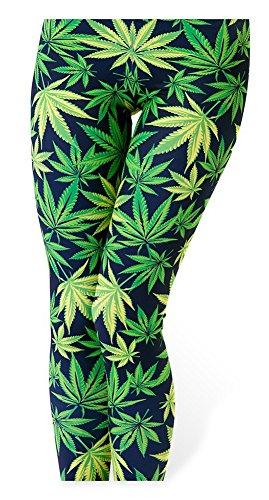 QZUnique Women's Green Maple Leaves Print Ankle Length Stretch Leggings Pants