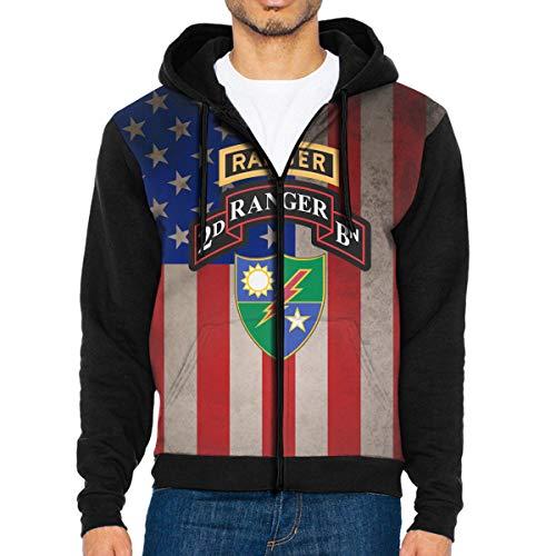 (NVTYGH HOODIE 2nd Battalion 75th Ranger Regiment Full Zip Sweatshirt Drawstring Hoodies with Pockets)