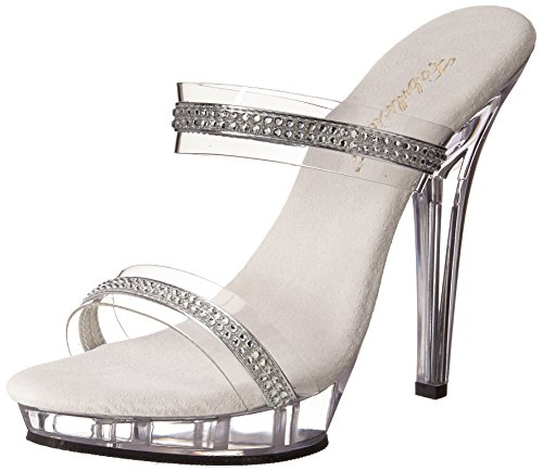(Pleaser Women's Lip-2/C/RS Platform Sandal,Clear/Clear,7 M US)