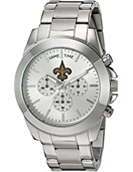 Game Time Womens Knock-Out Quartz Stainless Steel Quartz Analog Watch, Color:Silver-Toned (Model: NFL-TBY-NO)