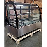 59 Curved Glass Stainless Steel Deli Cake Display Refrigerator