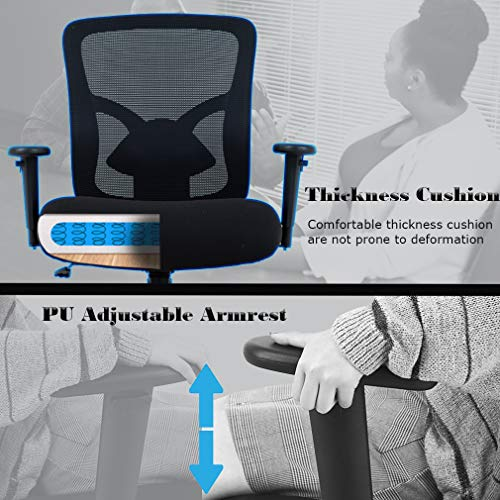 Big and Tall Office Chair Mesh Chair Computer Ergonomic Chair 400lbs Wide Seat Executive Desk Task Rolling Swivel Chair with Lumbar Support Adjustable Arms by BestMassage (Image #3)