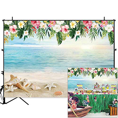 Allenjoy 7x5ft Tropical Beach Photography Backdrop Hawaii Summer Birthday Luau Party Photo Background Baby Shower Banner Photobooth Props]()