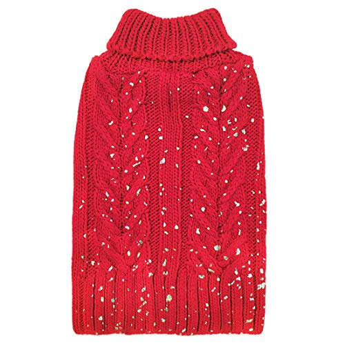 azuza Holiday Christmas Dog Sweater Turtleneck Dogs Pullover Knit Back Length 14