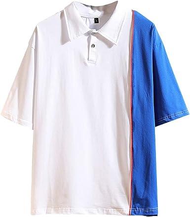 Big Sale Fastbot Mens Short Sleeve Top Lapel Button Cotton Cotton Print Loose Polo Shirt