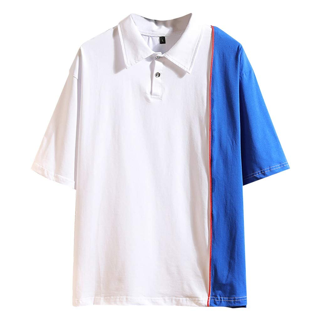 Men's Summer Fashion and Leisure Coloured Short Sleeves Blouse Top White