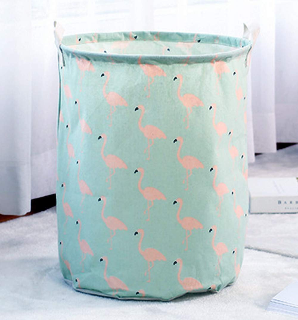 17.7 Strong Toy Storage Bins Portable Toddler Laundry Basket Fabric Nursery Hamper Home Shelf Organizer Boxes Flamingo Pattern