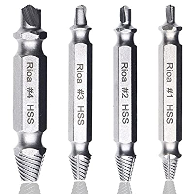 Rioa Damaged Screw Remover Set. Damaged Screw and Bolt Exctractor Set Easily Remove Stripped or Damaged Screws. Made From H.S.S. 4341#, the Hardness Is 62-63hrc from Rioa