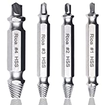 Rioa Damaged Screw Remover Set. Damaged Screw and Bolt Exctractor Set Easily Remove Stripped or Damaged Screws. Made From H.S.S. 4341#, the Hardness Is 62-63hrc