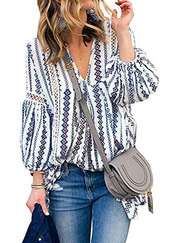 (Women Tops Boho Long Sleeve T-Shirt V Neck Blouse Tee (Blue, M))