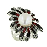 .925 Sterling Silver Black and Red Pedals with Freshwater Pearl Ring Size 7
