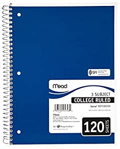 Mead Three-Subject College-Ruled Spiral Notebook, 1 Notebook, Color May Vary (05748)