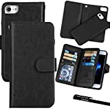 For iPhone 7 Plus / 8 Plus (5.5''), Urvoix Wallet Leather Flip Card Holder Case, 2 in 1 Detachable Magnetic Back Cover iPhone 7PLUS / 8 Plus (NOT for iPhone7) Black