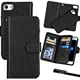 For iPhone 7 / iPhone 8 (4.7), Urvoix Wallet Leather Flip Card Holder Case, 2 in 1 Detachable Magnetic Back Cover iPhone 7 / iPhone 8 (NOT for 7Plus) Black