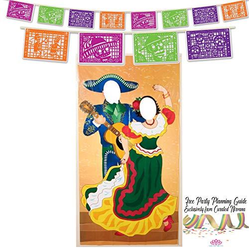 Fiesta Decoration Bundle   Dia De Los Muertos Papel Picado Banner (12 Feet Long) and Flamenco Couple Photo Prop Door Cover by Curated -