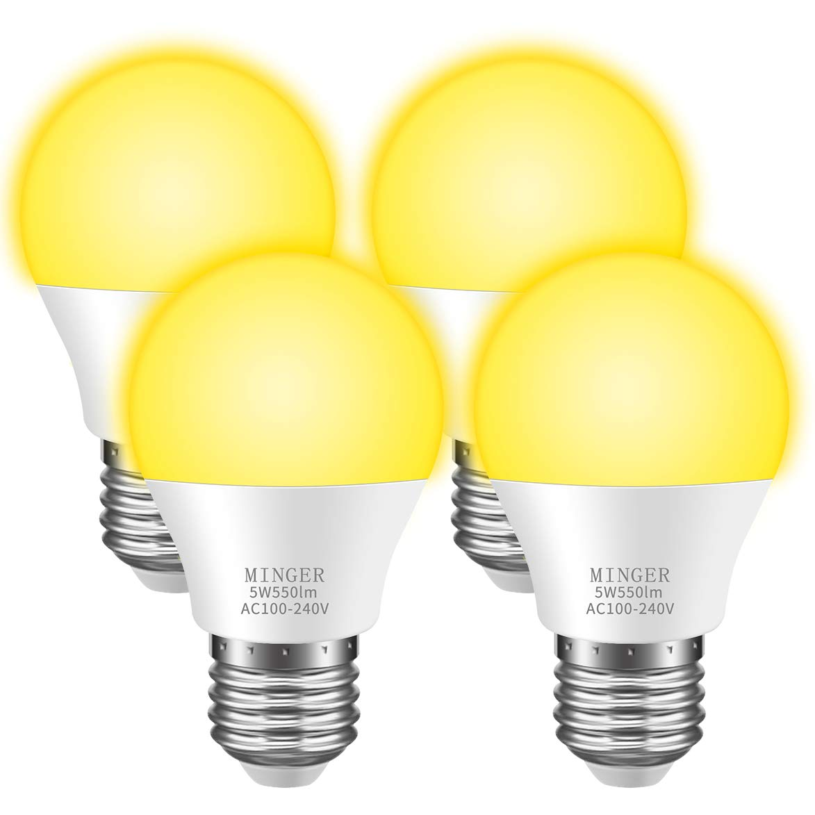 MINGER Bug Light Bulb Yellow LED Bulbs, Amber Bug Free Light Bulb Outdoor Porch Lights LED Warm Bulb 40W Equivalent (5W 550Lumens E26/E27), Outdoor Lighting Lamp for Patio Hallway Garage [4 Pack]