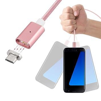 Lenuo Latest 2nd Generación Micro USB Cargador Adaptador magnético Cable de Carga para Samsung LG Dispositivos Android Smartphone (Oro Rosa)