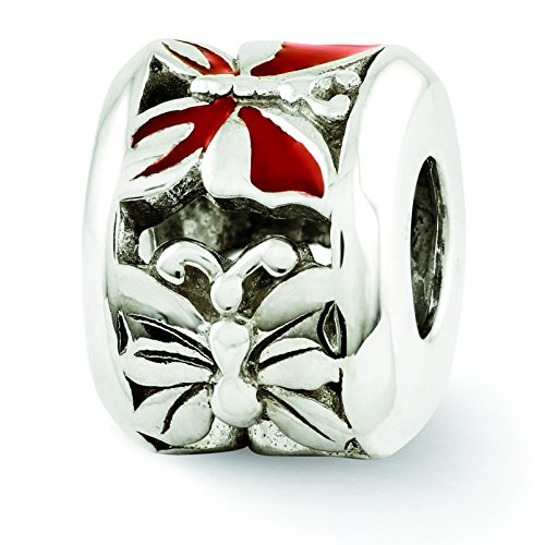 Red Enameled Butterfly Charm - 8