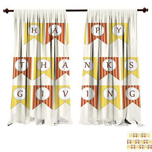 Window Curtains for Bedroom Cute Thanksgiving Bunting Flags with Letters in Traditional colors1 Insulated Window ()