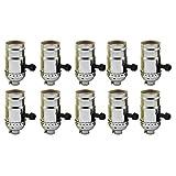 AAF On-Off Turn Knob Socket Polished Nickel Finish, E26 / E27 Medium Base with Screw Set, Pack of 10