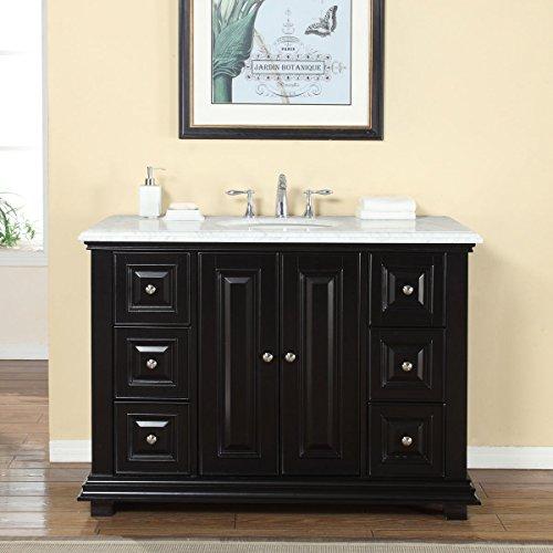Silkroad Exclusive V0282WW48C Bathroom Vanity Carrara Marble Top Single Sink Cabinet, 48