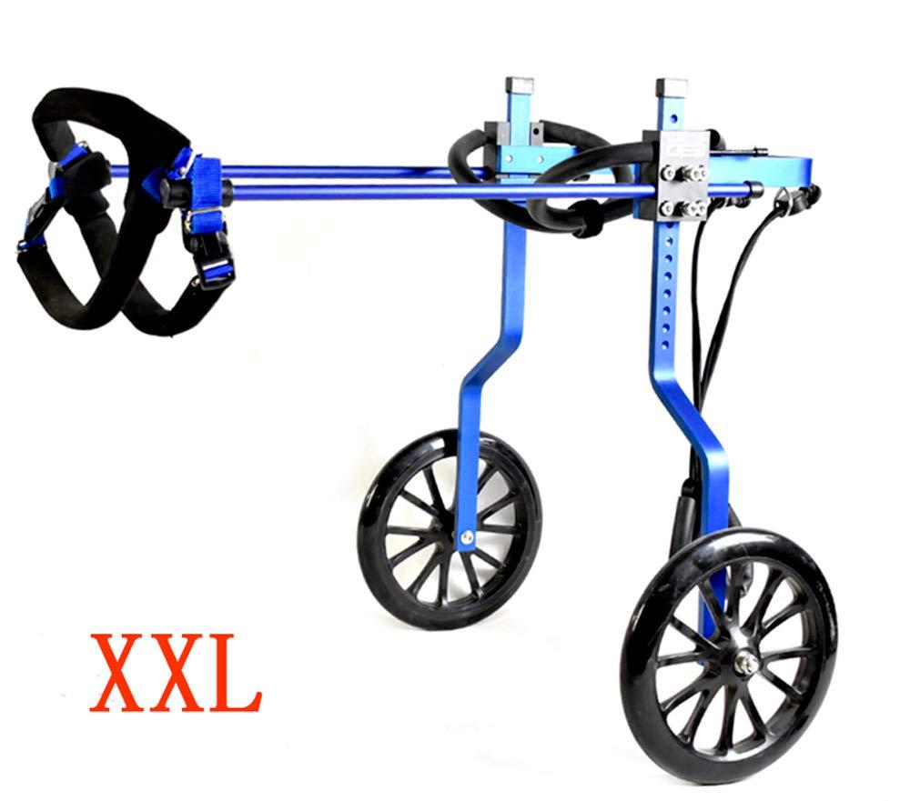 bluee XXL-03 bluee XXL-03 Adjustable Dog Wheelchair, Hind Leg Rehabilitation for Handicapped Small Dog 2 Wheels Dog Wheelchair Cart Kit Adjusted Freely Pet Wheelchair for Back Legs Rehabilitation