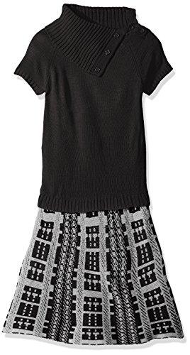 Derek Heart Girls Big Short Sleeve Split Cowl Skater Dress with Rib Top and Double Knit Skirt,