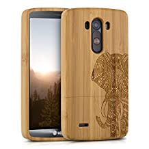 kwmobile Natural wood case with Design elephant pattern for the LG G3 in bamboo light brown
