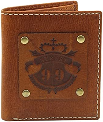 Tan 6 Credit Card Slots STREET 99 Mens/ Billfold Wallet Real Leather