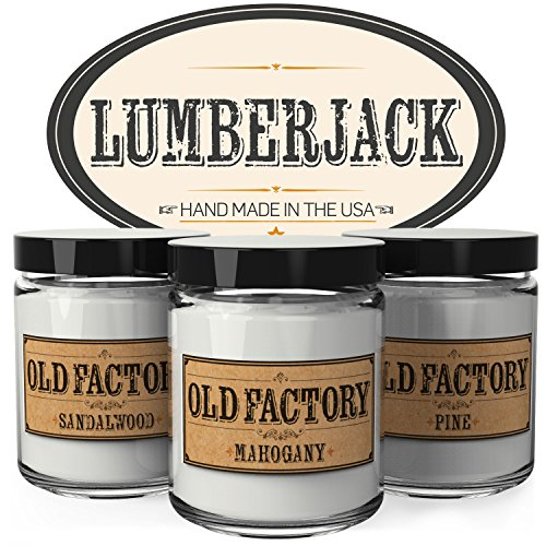 Scented Candles for Men - Lumberjack - Set of 3: Sandalwood, Mahogany, Pine - 3 x 4-Ounce Soy Candles - Each Votive Candle is Handmade in the USA with only the Best Fragrance Oils