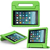 MoKo Case for All-New Amazon Fire 7 Tablet (7th Generation, 2017 Release Only) - Kids Shock Proof Convertible Handle Light Weight Super Protective Stand Cover for Fire 7, GREEN