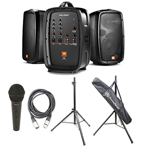 Package - 1 Set of JBL Professional EON 206P Portable PA System + 2 Speaker Stands + 1 EMB Emic800 Microphone