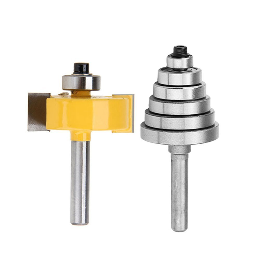 Yakamoz 1/4 Inch Shank Rabbeting Router Bit with 6 Bearings Set for Multiple Depths 1/8', 1/4', 5/16', 3/8', 7/16', 1/2' 1/4 5/16 3/8 7/16 1/2 Others