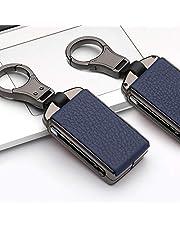 ontto Autosleutelbehuizing voor Volvo – zinklegering sleutelhoes voor Volvo Smart autosleutel afstandsbediening sleutelhouder beschermjas met sleutelhanger, sleutelbehuizing, zwart en blauw, A