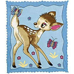 Polar Fleece Newborn Baby Girl Boy Receiving Blanket - Ultra Soft Breathable Plush Micropolar Multipurpose Placement Printed Ultrasonic Edged Swaddling Nursery Shawl Infant Toddler (Cute Gazelle Blue)