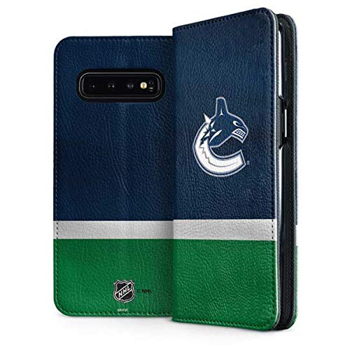 Skinit Vancouver Canucks Jersey Galaxy S10 Folio Case - Officially Licensed NHL Phone Case Folio - Faux-Leather Wallet Galaxy S10 Cover