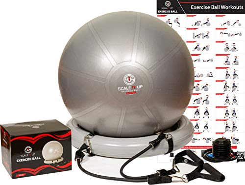 Scale It Up 65cm Exercise Ball Chair Set with 15LB Resistance Bands Set - Yoga Fitness Pilates Ball & Stability Ball & Base - Heavy Duty Anti-Slip & Burst Home Gym Bundle & Supports 600LBs - Medical Chair Scale
