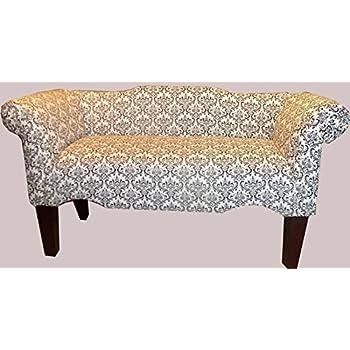 Amazon.com: Black and White Madison Design Vanity Bedroom Settee ...