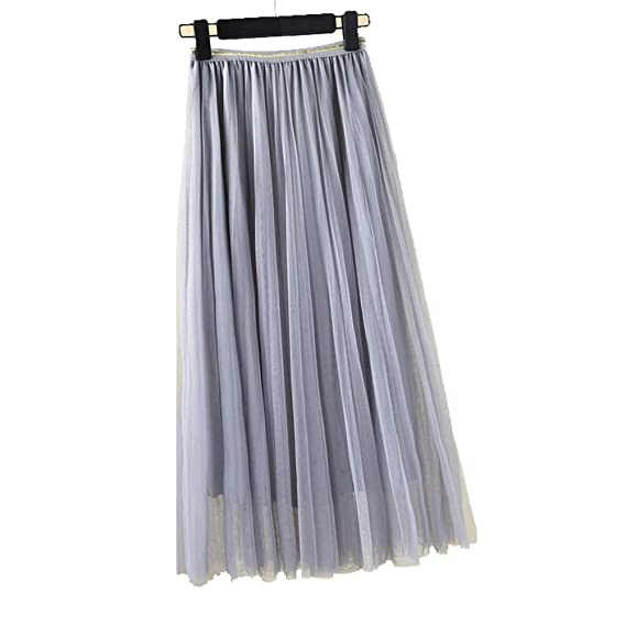 a421a800b3 Chinashow Women's Mesh Tulle Midi Skirt - Elastic High Waist Layered  Princess A Line Pleated Layer Skirt Grey: Amazon.in: Clothing & Accessories