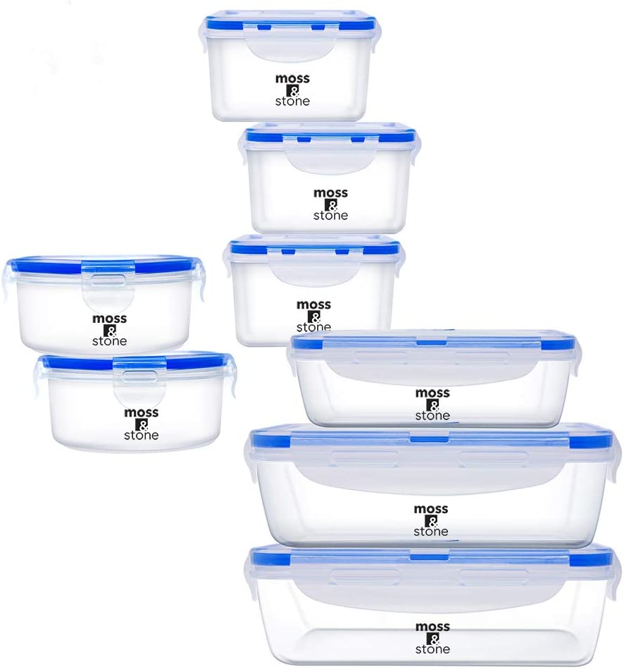 Moss & Stone Air Tight 16 Piece Plastic Food Storage Containers with Lids, Safe Lunch Box Set For DIshwasher and Microwave, Leak Proof Storage Containers For Food- BPA Free