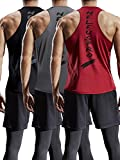 Neleus Men's 3 Pack Mesh Workout Muscle Tank Top,5007,Black,Dark Grey,Red,US L,EU XL