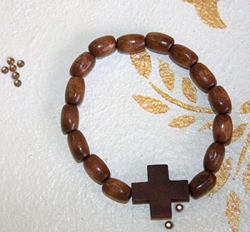 Hand-Crafted Olive Wood Mini Rosary Bracelet with oval Beads and Cross (Wood Cross Bracelet)