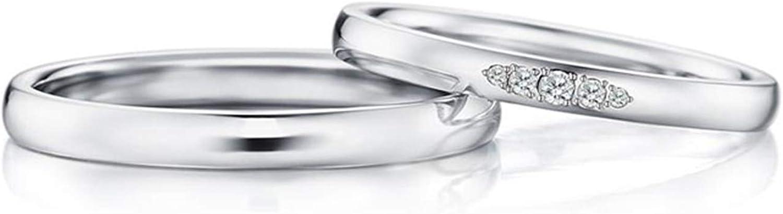 Epinki Anillo Oro Blanco 18k Redondo Diamante 0.08ct Anillos Compromiso Pareja
