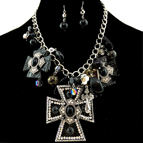 Western Peak Western Large Cross Pendant with Charms Necklace with Pearl Earrings (Black2)