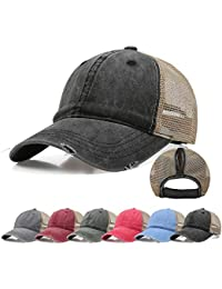 c4332bad2c82d4 Ponytail Baseball Cap Retro Washed Cotton Visor Dad Hat Adjustable Trucker  Ponycaps
