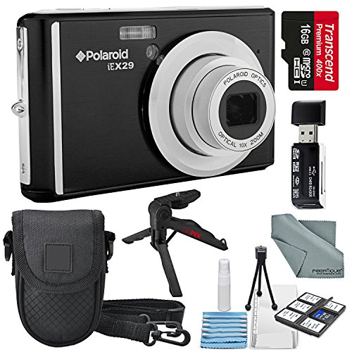 Polaroid iEX29 18MP 10x Digital Camera (Black) and Accessory Bundle W/16GB + Card Reader + Case + Xpix Tripod + Fiberitque Cleaning Cloth + Deluxe Starters Kit by Photo Savings