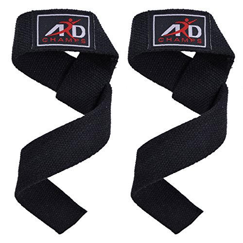 ARD CHAMPS Power Hand Bar Straps (PAIR) Weight Lifting Cotton Straps Strengthen Training Workouts Black
